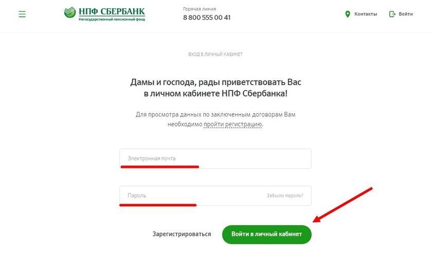 Личный кабинет негосударственного пенсионного фонда сбербанк потребительская корзина московской области